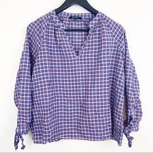 Madewell V Neck Checked top Size Small